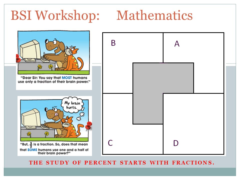 THE STUDY OF PERCENT STARTS WITH FRACTIONS. BSI Workshop: Mathematics