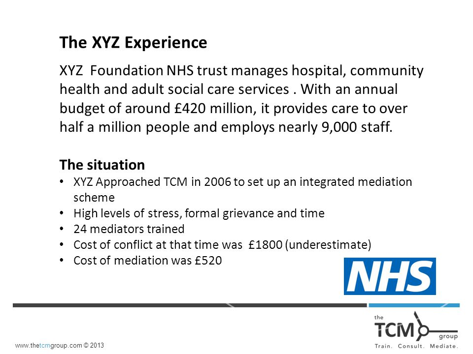 XYZ Foundation NHS trust manages hospital, community health and adult social care services.