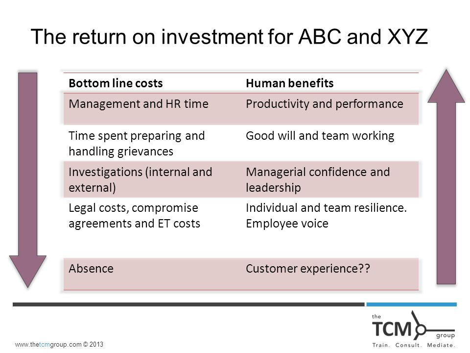 www.thetcmgroup.com © 2013 The return on investment for ABC and XYZ