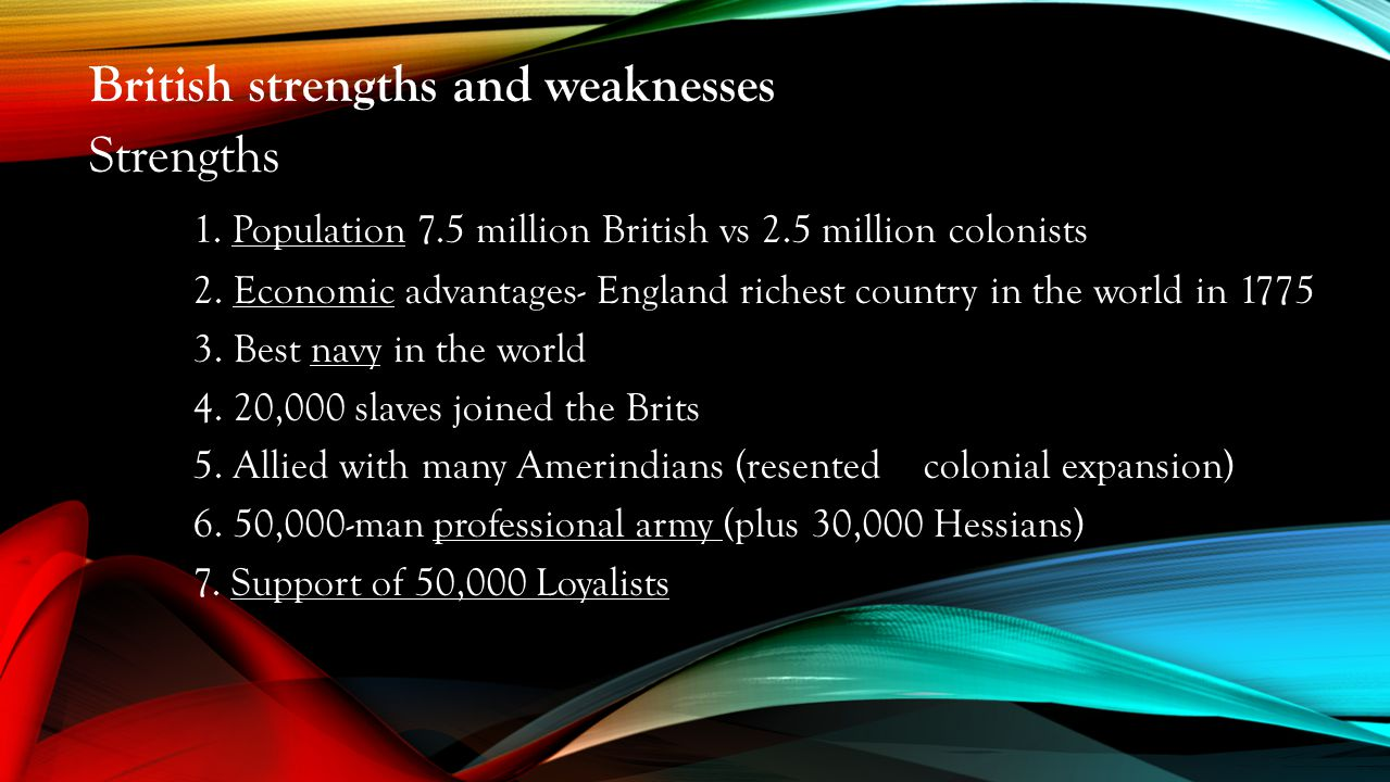 British strengths and weaknesses Strengths 1. Population 7.5 million British vs 2.5 million colonists 2. Economic advantages- England richest country
