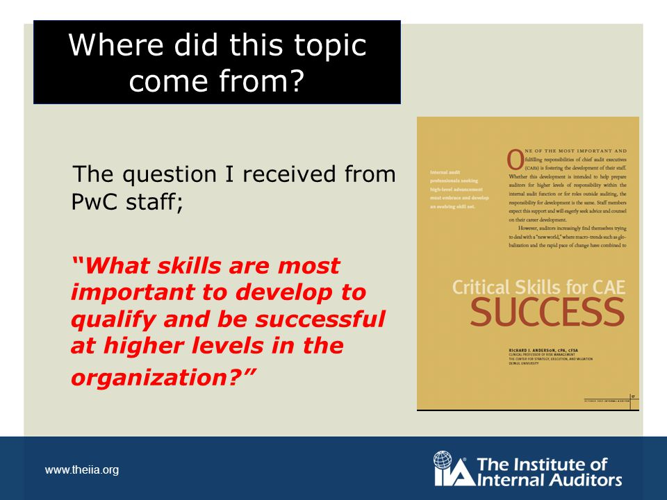 www.theiia.org Career Focused Skills More broad-based, personal attributes for future development; Adaptability Continuous Learning Judgment Talent and Diversity Management