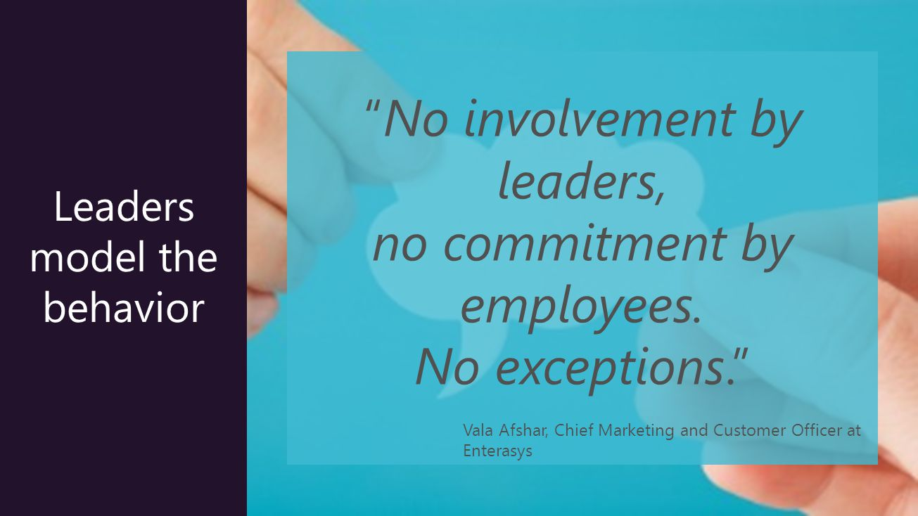 23 Leaders model the behavior No involvement by leaders, no commitment by employees.