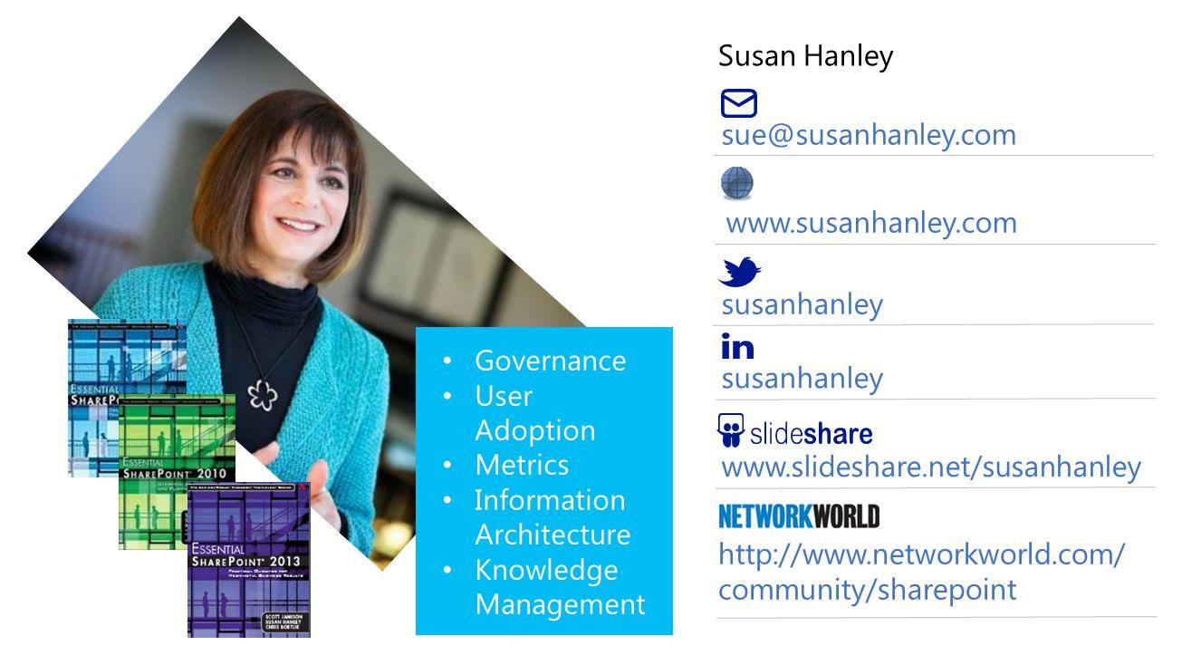 Susan Hanley sue@susanhanley.com susanhanley www.slideshare.net/susanhanley http://www.networkworld.com/ community/sharepoint www.susanhanley.com