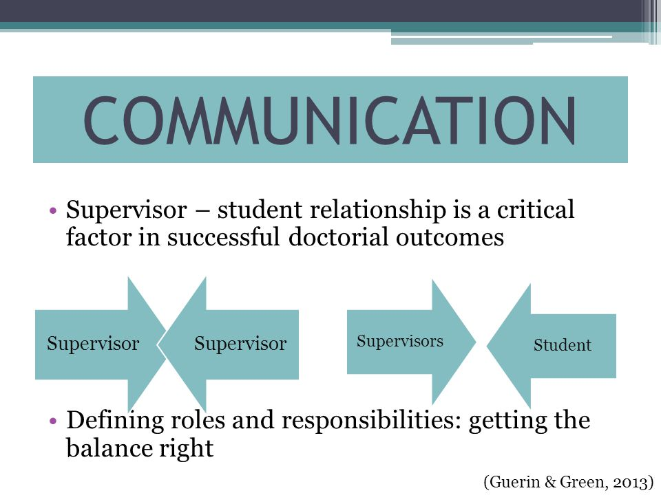 Supervisor – student relationship is a critical factor in successful doctorial outcomes Defining roles and responsibilities: getting the balance right