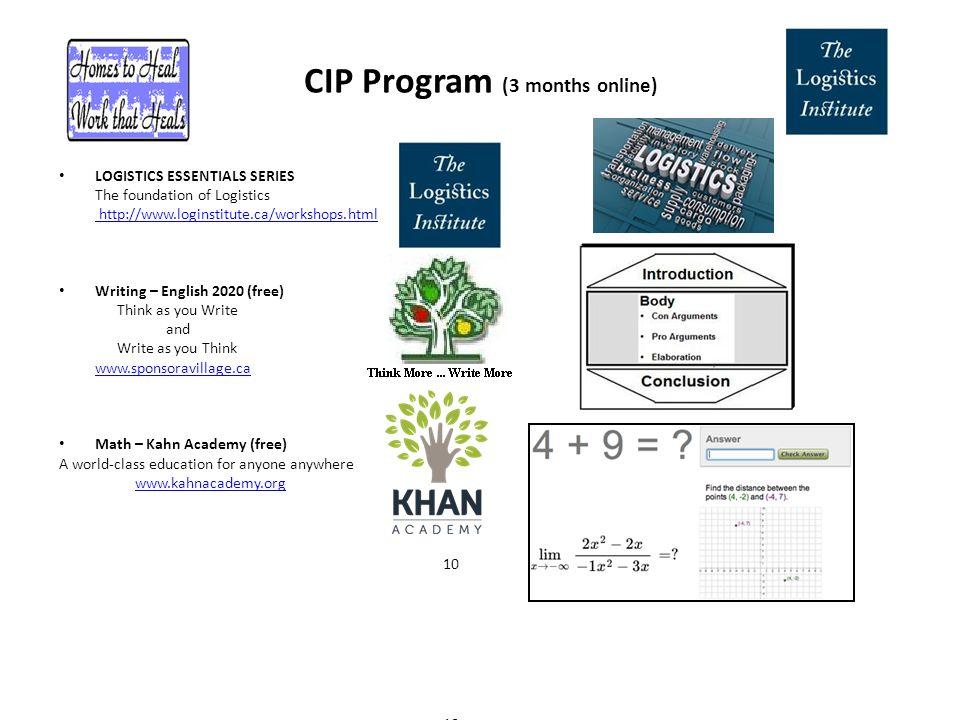 CIP Program (3 months online) LOGISTICS ESSENTIALS SERIES The foundation of Logistics http://www.loginstitute.ca/workshops.html Writing – English 2020