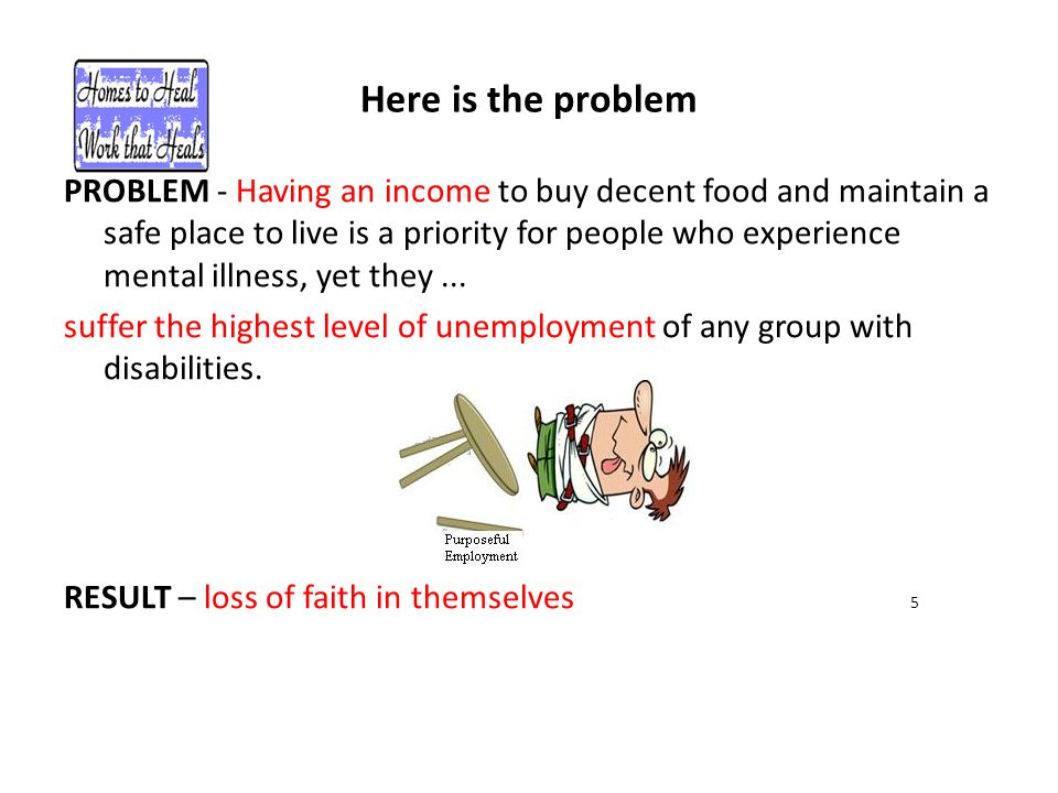 Here is the problem PROBLEM - Having an income to buy decent food and maintain a safe place to live is a priority for people who experience mental ill