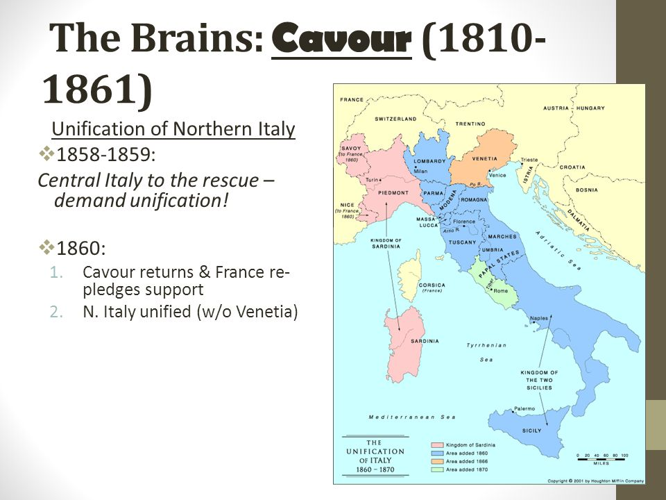 Cavour Unites Italy The quest for unity Mazzini's Young Italy Sardinia and Italian unification Cavour's goals Unification in the south Garibaldi's Red Shirts Challenges after unification Regional conflicts 24:3 Count Cavour [The Head ] Giuseppi Garibaldi [The Sword ] Giuseppi Mazzini [The Heart ] King Victor Emmanuel II