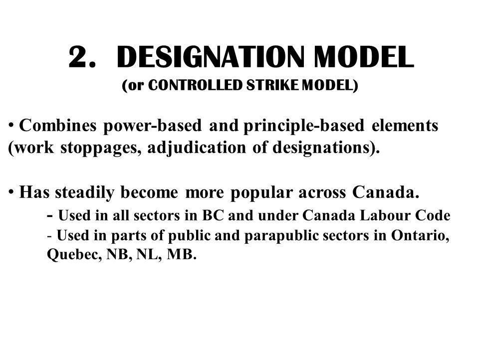 2. DESIGNATION MODEL (or CONTROLLED STRIKE MODEL) Combines power-based and principle-based elements (work stoppages, adjudication of designations). Ha