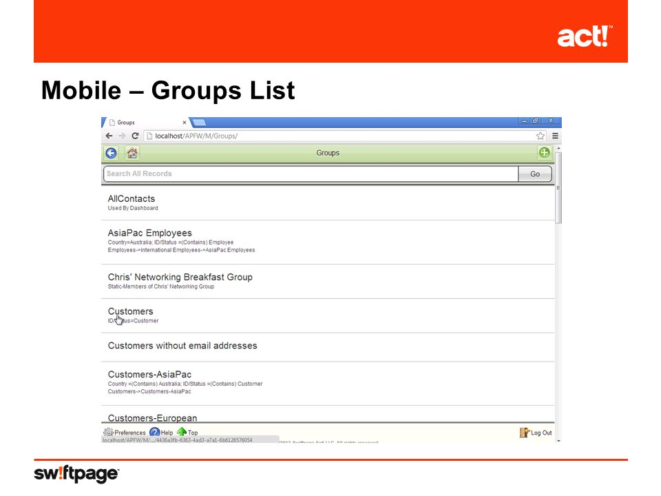 Mobile – Groups List