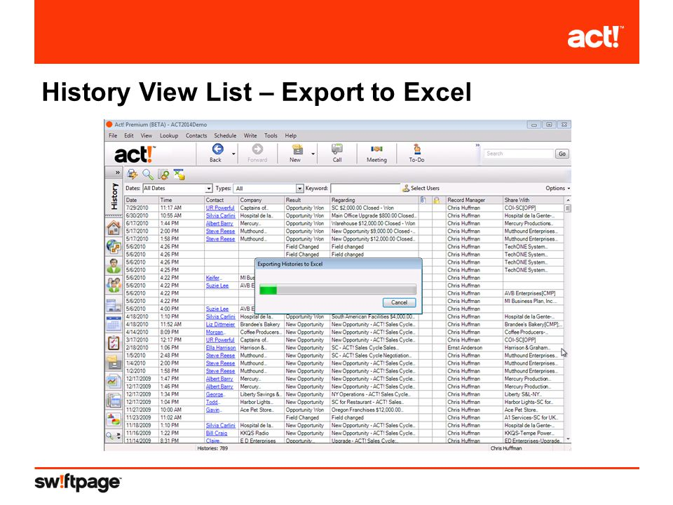 History View List – Export to Excel