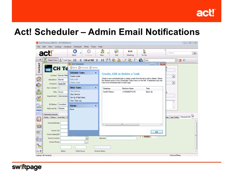 Act! Scheduler – Admin Email Notifications