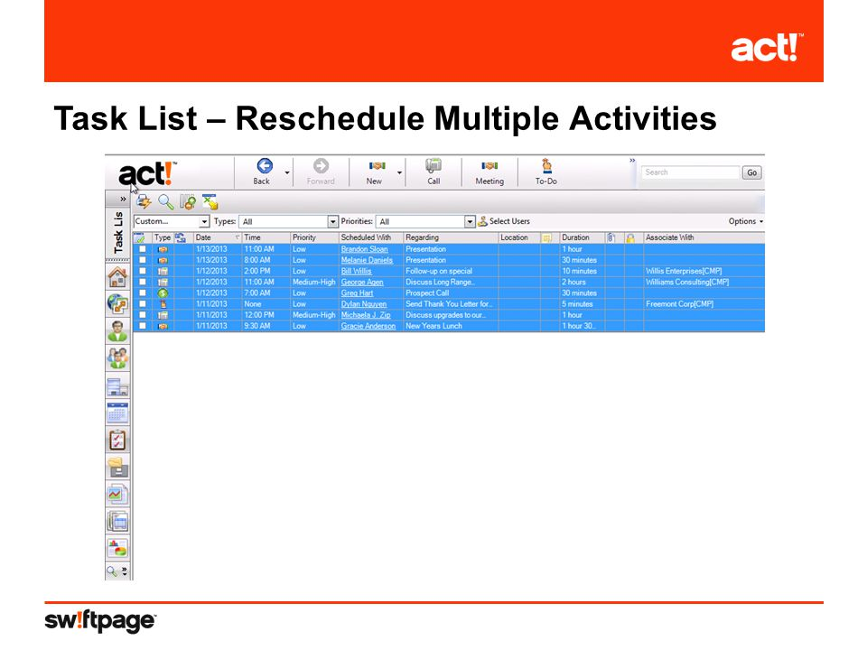 Task List – Reschedule Multiple Activities