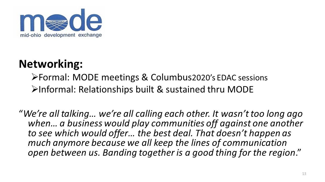 Networking:  Formal: MODE meetings & Columbus 2020's EDAC sessions  Informal: Relationships built & sustained thru MODE We're all talking… we're all calling each other.
