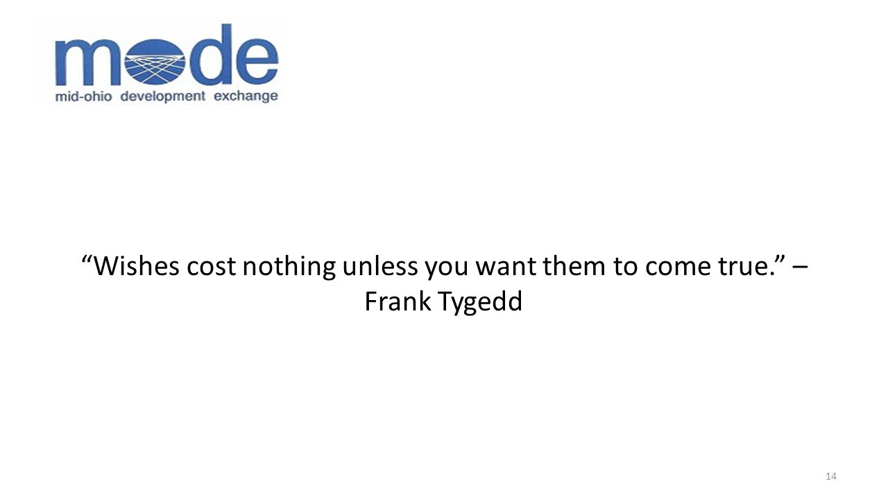 Wishes cost nothing unless you want them to come true. – Frank Tygedd 14