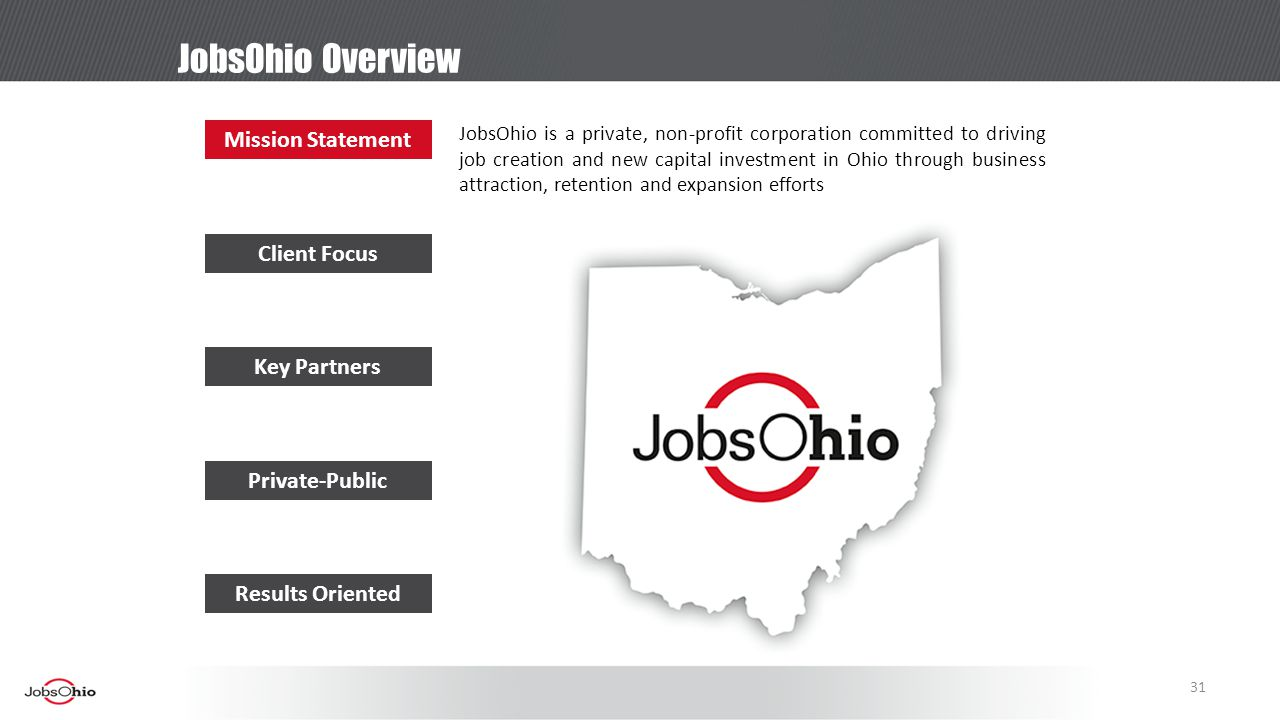 JobsOhio Overview Mission Statement Client Focus Key Partners Private-Public Results Oriented JobsOhio is a private, non-profit corporation committed to driving job creation and new capital investment in Ohio through business attraction, retention and expansion efforts 31