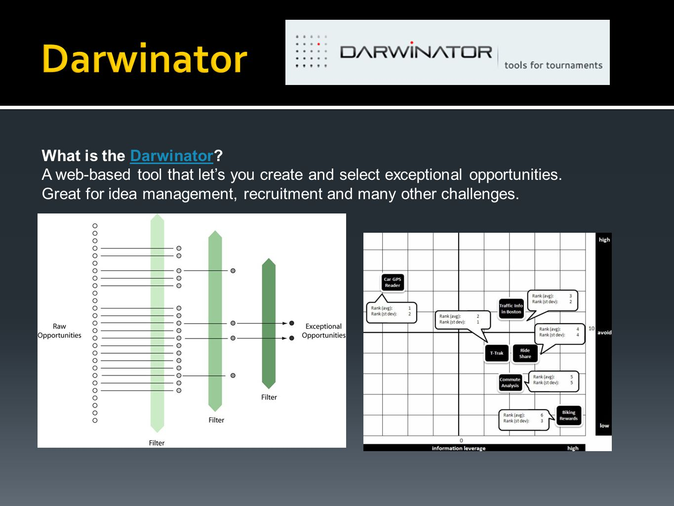 What is the Darwinator?Darwinator A web-based tool that let's you create and select exceptional opportunities. Great for idea management, recruitment