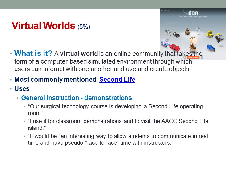 Virtual Worlds (5%) What is it.