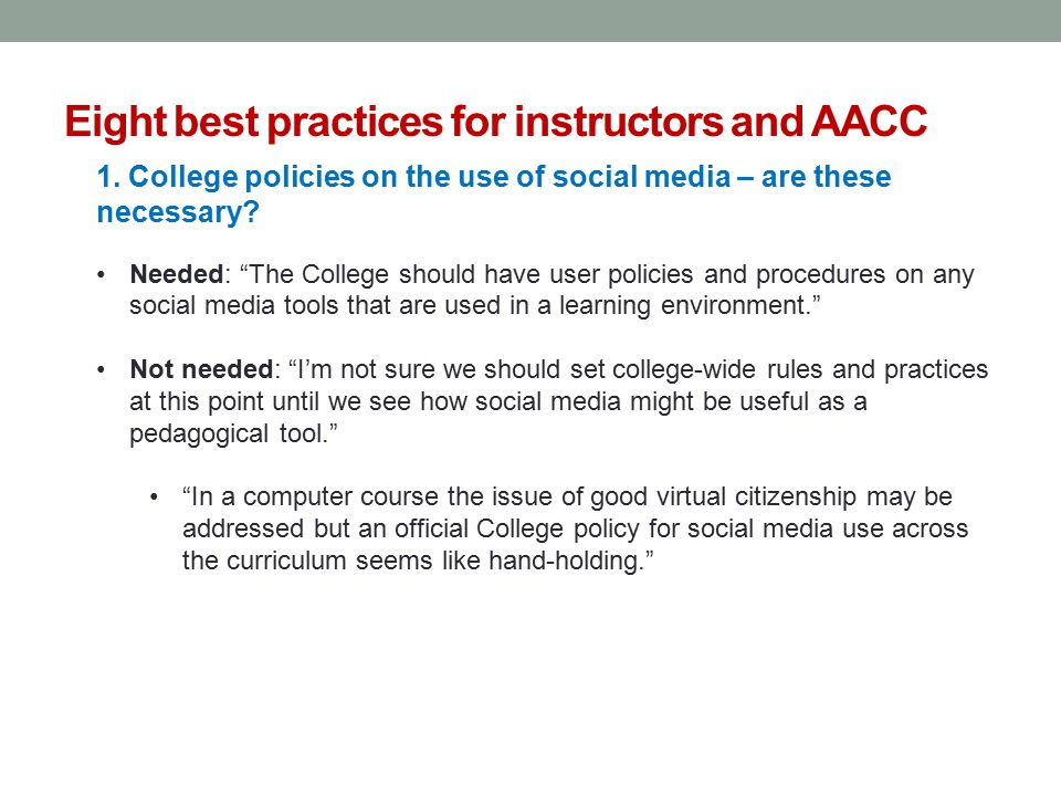 Eight best practices for instructors and AACC 1.