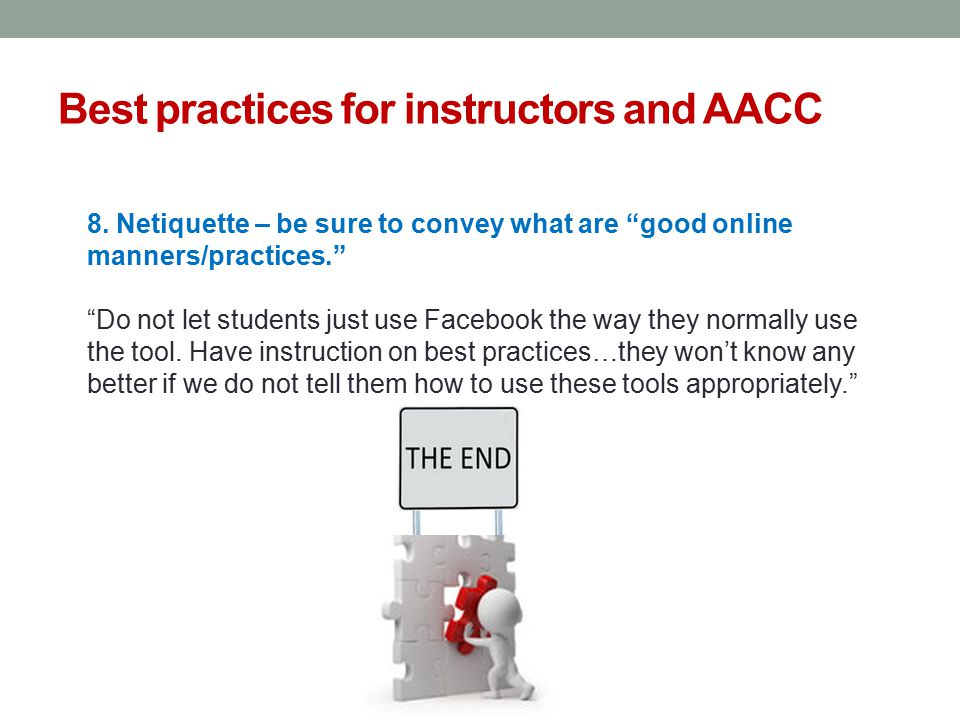 Best practices for instructors and AACC 8.