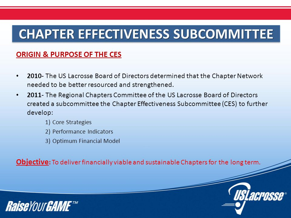 CHAPTER EFFECTIVENESS SUBCOMMITTEE ORIGIN & PURPOSE OF THE CES 2010- The US Lacrosse Board of Directors determined that the Chapter Network needed to be better resourced and strengthened.