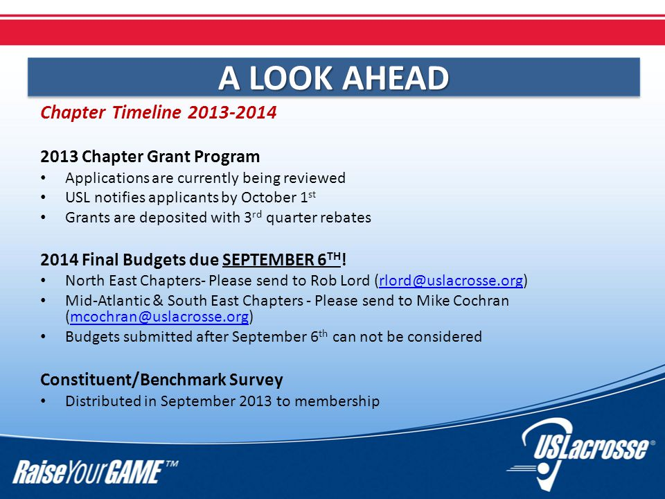 Chapter Timeline 2013-2014 2013 Chapter Grant Program Applications are currently being reviewed USL notifies applicants by October 1 st Grants are deposited with 3 rd quarter rebates 2014 Final Budgets due SEPTEMBER 6 TH .