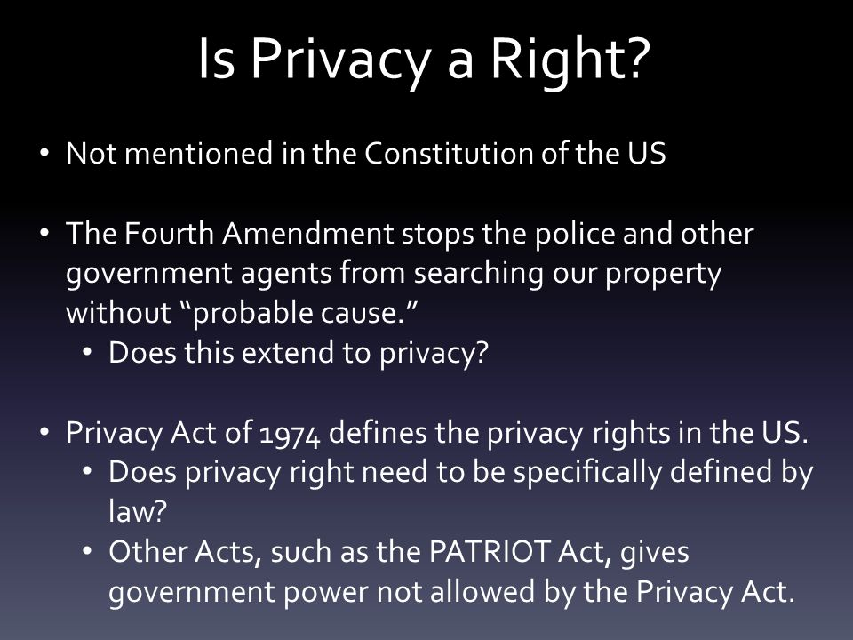 Is Privacy a Right.