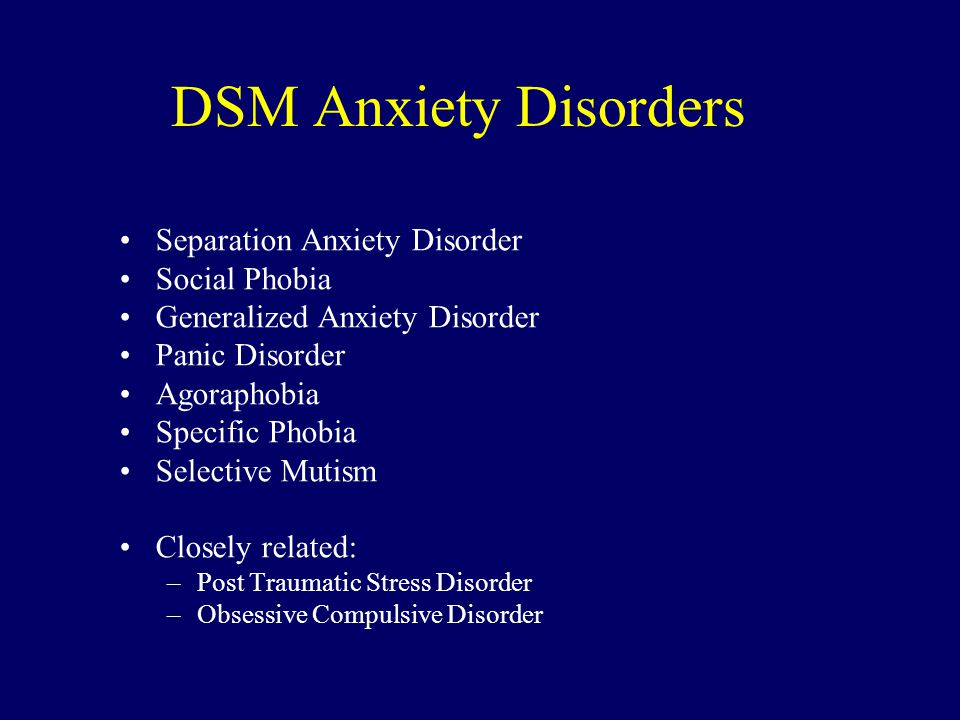 DSM Anxiety Disorders Separation Anxiety Disorder Social Phobia Generalized Anxiety Disorder Panic Disorder Agoraphobia Specific Phobia Selective Muti