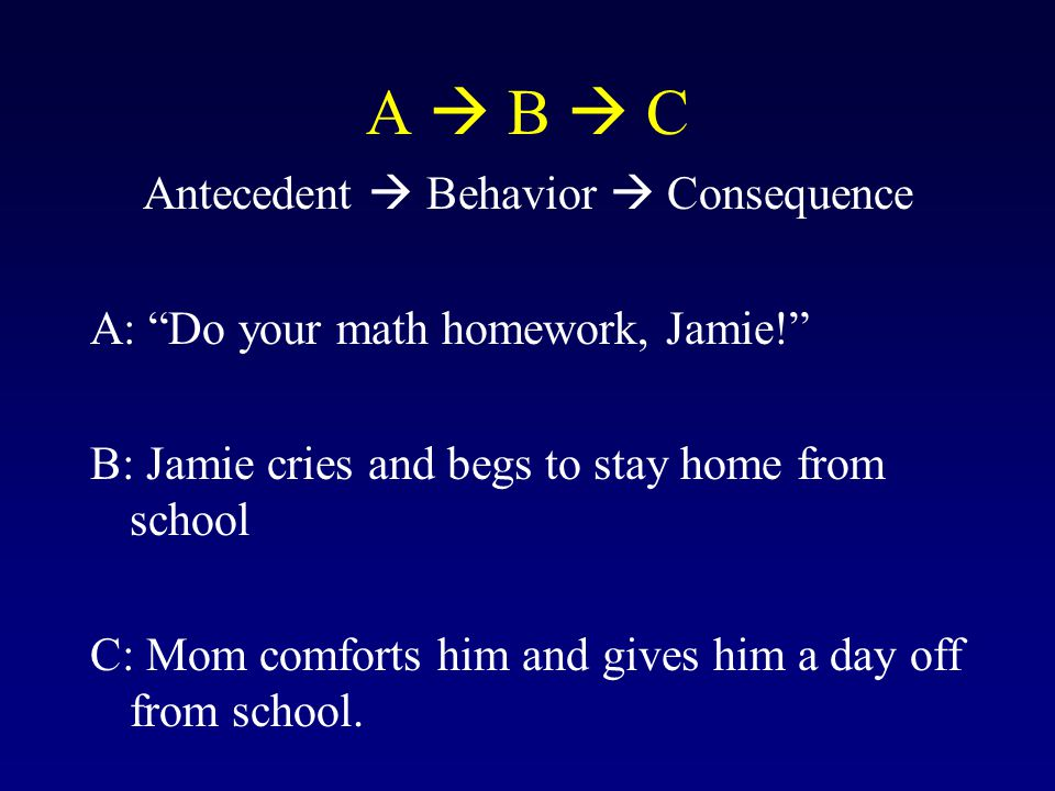 "A  B  C Antecedent  Behavior  Consequence A: ""Do your math homework, Jamie!"" B: Jamie cries and begs to stay home from school C: Mom comforts him"