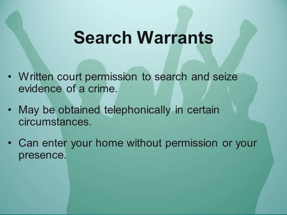 No warrant needed… Exceptions to the warrant requirement: --weapons search within wingspan (car or person) --exigent circumstances or emergencies: hot pursuit , -- plain view doctrine: if the public can see it, and a cop can see it, cops will be able to legally seize it.