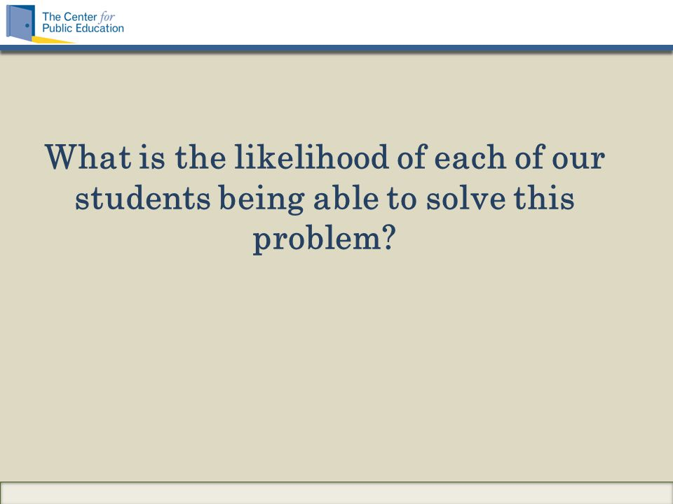 What is the likelihood of each of our students being able to solve this problem