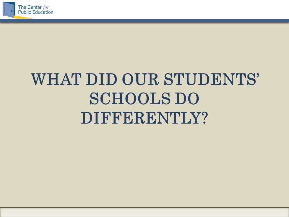 WHAT DID OUR STUDENTS' SCHOOLS DO DIFFERENTLY