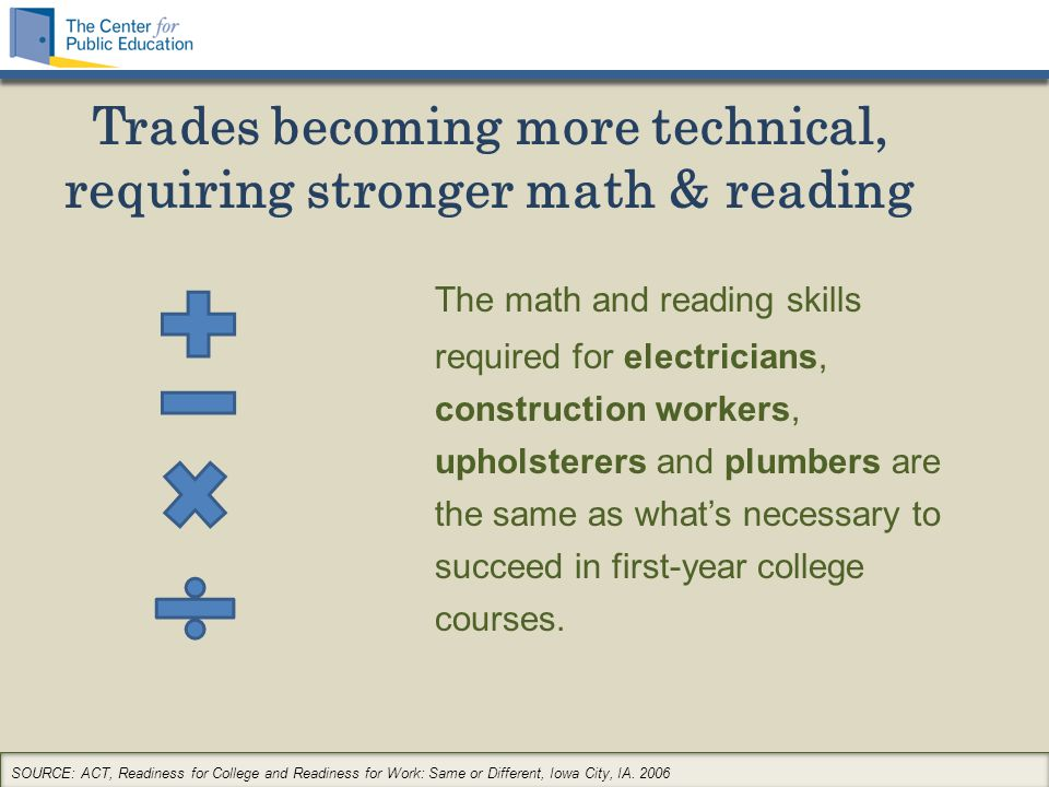 Trades becoming more technical, requiring stronger math & reading The math and reading skills required for electricians, construction workers, upholsterers and plumbers are the same as what's necessary to succeed in first-year college courses.