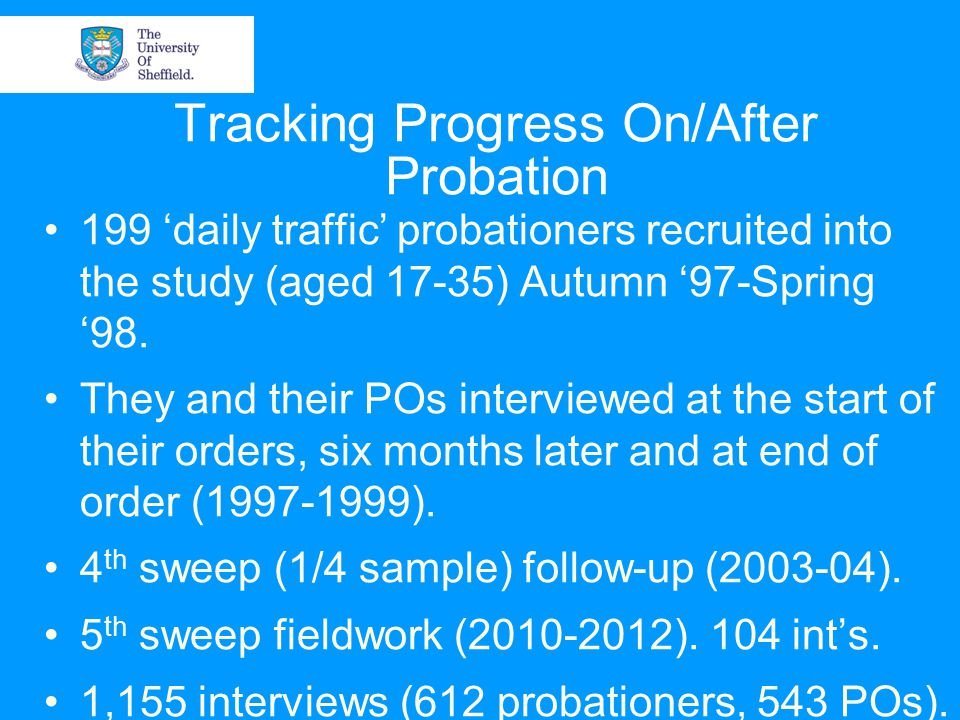 Tracking Progress On/After Probation 199 'daily traffic' probationers recruited into the study (aged 17-35) Autumn '97-Spring '98.