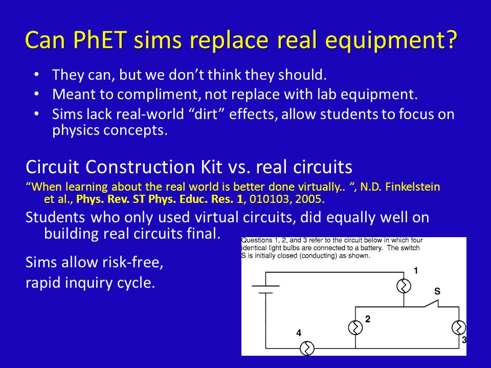 Can PhET sims replace real equipment. They can, but we don't think they should.
