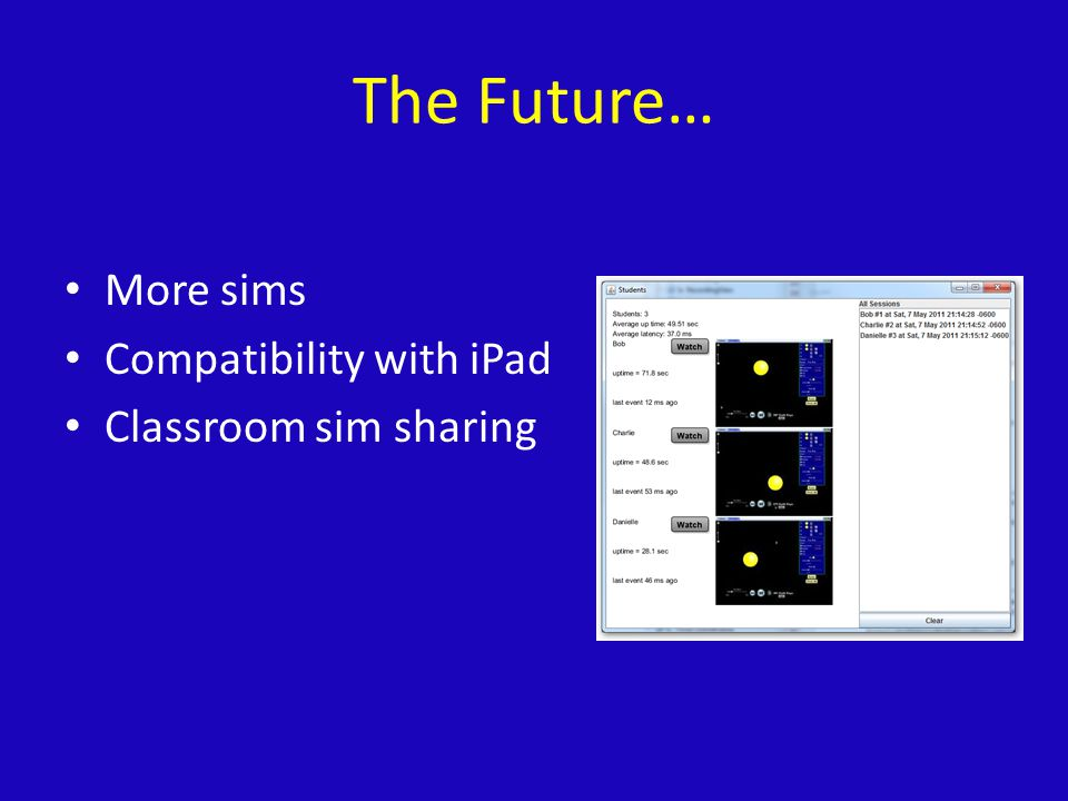 The Future… More sims Compatibility with iPad Classroom sim sharing