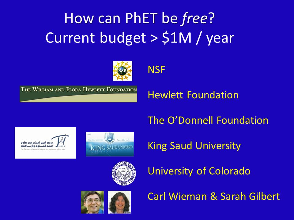 NSF Hewlett Foundation The O'Donnell Foundation King Saud University University of Colorado Carl Wieman & Sarah Gilbert How can PhET be free.