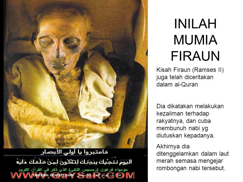 INILAH MUMIA FIRAUN Kisah Firaun (Ramses II) juga telah diceritakan dalam al-Quran Dia dikatakan melakukan kezaliman terhadap rakyatnya, dan cuba membunuh nabi yg diutuskan kepadanya.