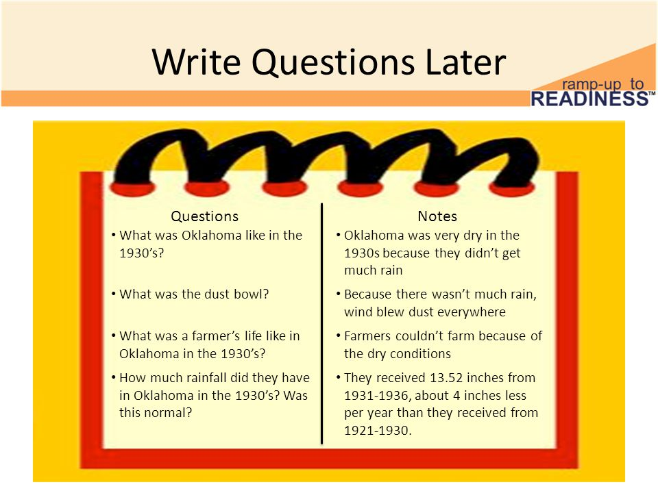Write Questions Later QuestionsNotes What was Oklahoma like in the 1930's.