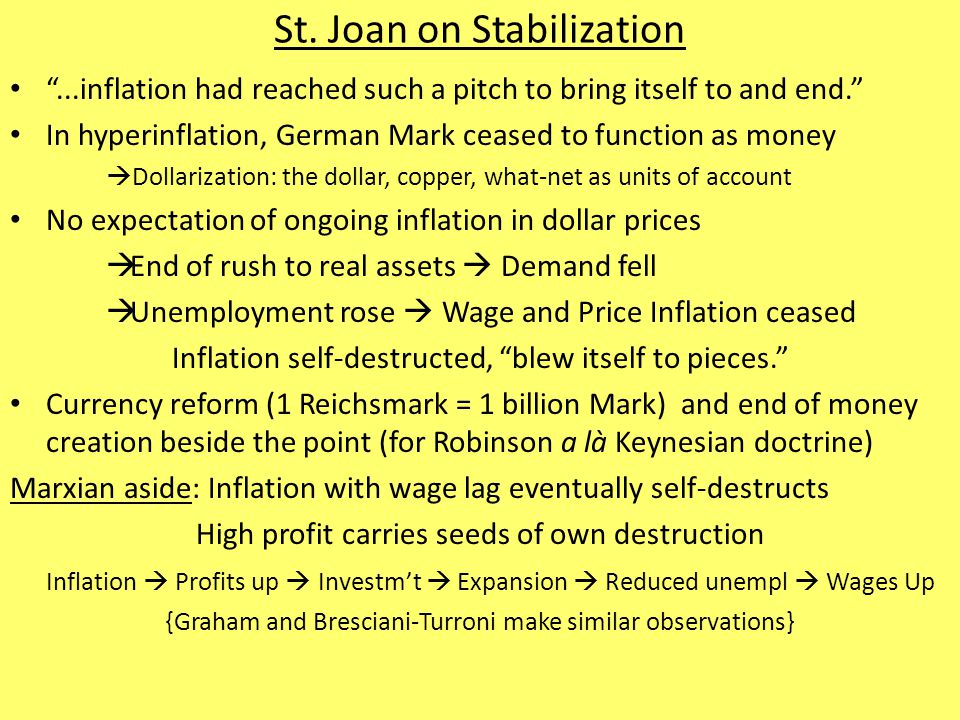 "St. Joan on Stabilization ""...inflation had reached such a pitch to bring itself to and end."" In hyperinflation, German Mark ceased to function as mon"