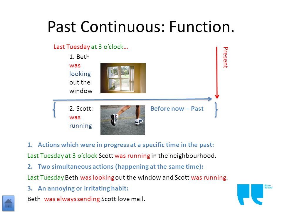 Past Continuous: Function.