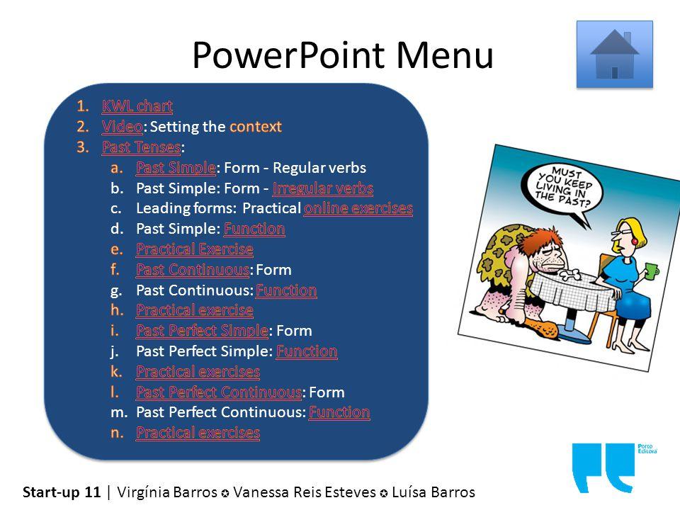 PowerPoint Menu Start-up 11 | Virgínia Barros ✪ Vanessa Reis Esteves ✪ Luísa Barros