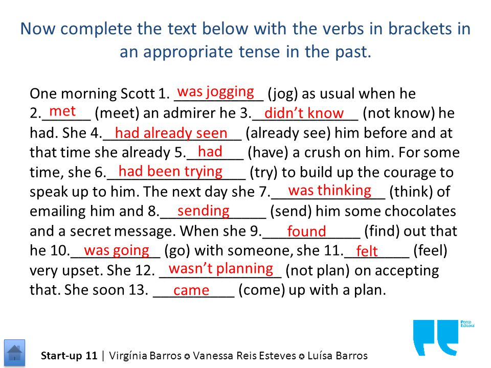 Now complete the text below with the verbs in brackets in an appropriate tense in the past.