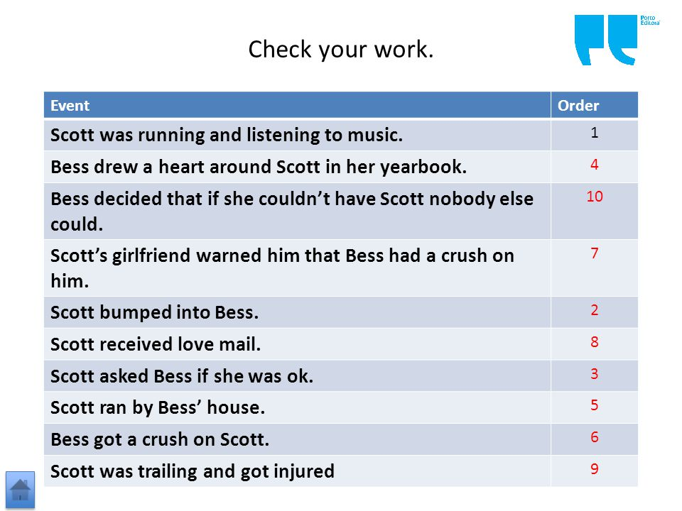 Check your work. EventOrder Scott was running and listening to music.