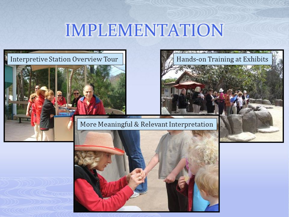 Interpretive Station Overview TourHands-on Training at Exhibits More Meaningful & Relevant Interpretation