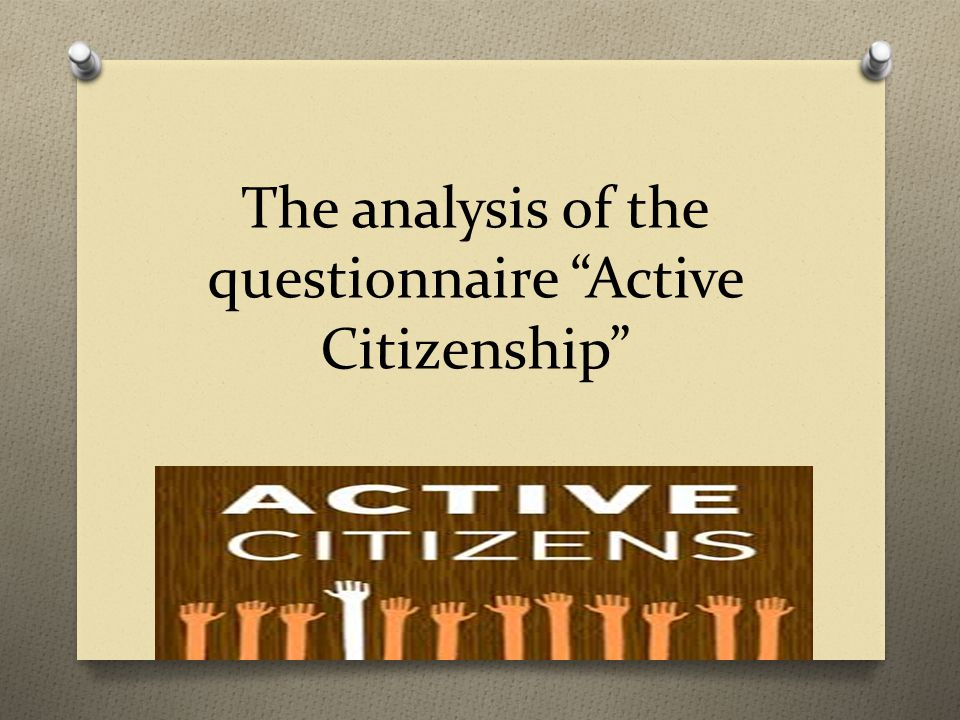 The analysis of the questionnaire Active Citizenship