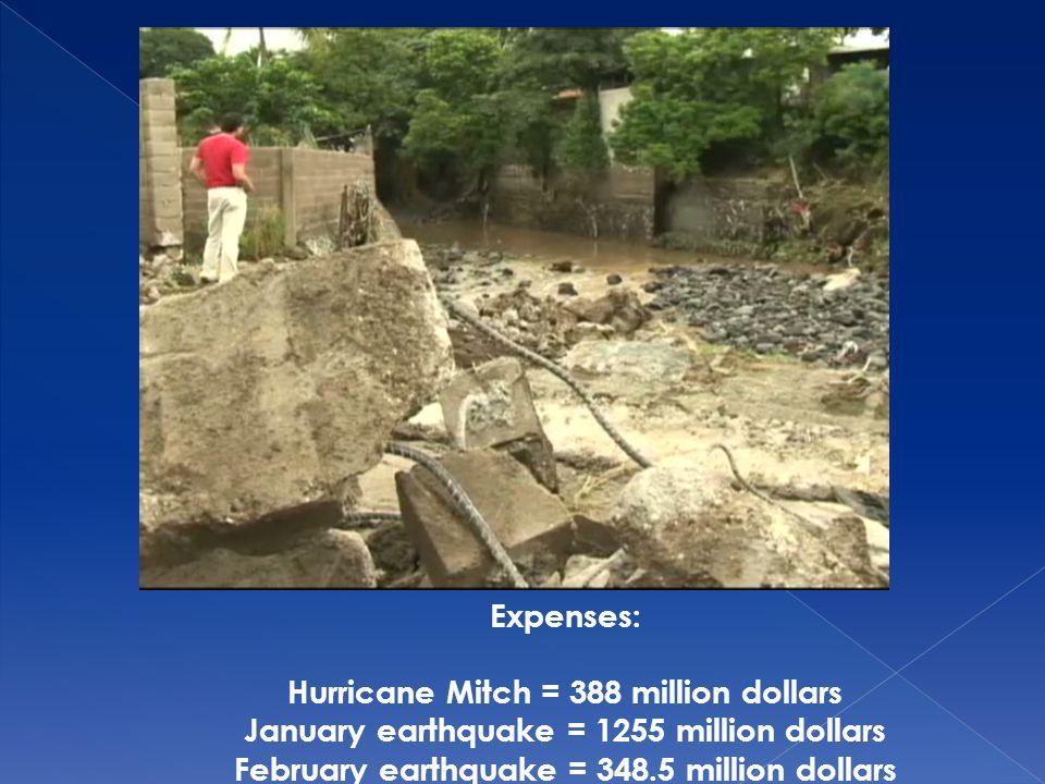 Expenses: Hurricane Mitch = 388 million dollars January earthquake = 1255 million dollars February earthquake = 348.5 million dollars