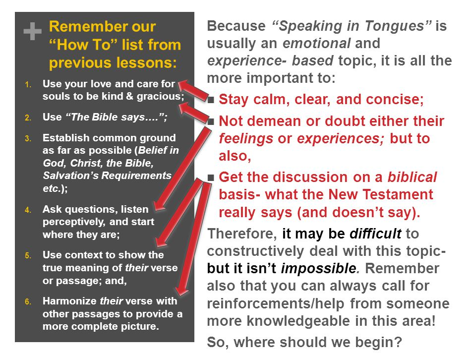 + Remember our How To list from previous lessons: To be effective/constructive in this discussion, four different but related issues must be addressed regarding Speaking in Tongues - their: 1.