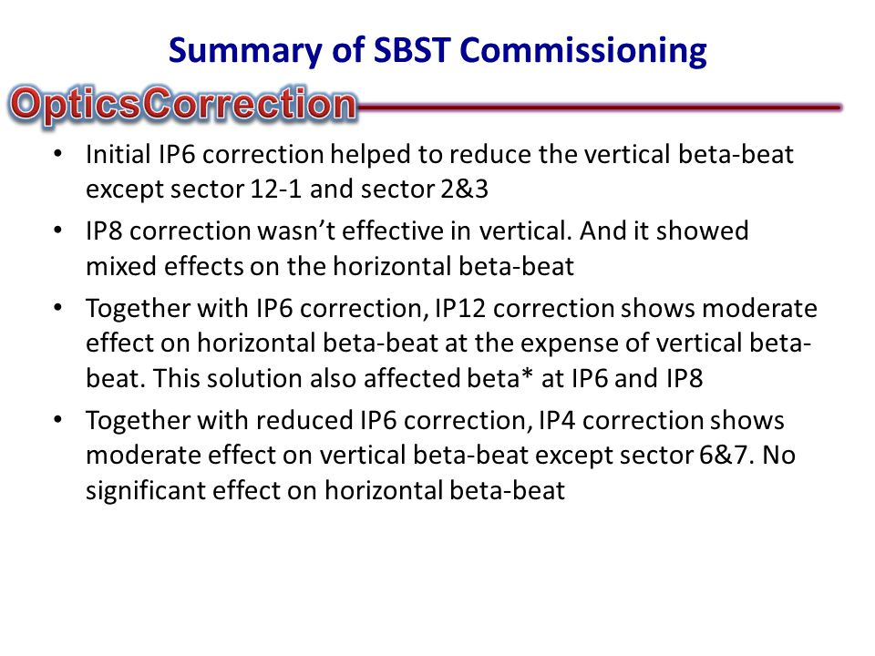 Summary of SBST Commissioning Initial IP6 correction helped to reduce the vertical beta-beat except sector 12-1 and sector 2&3 IP8 correction wasn't effective in vertical.