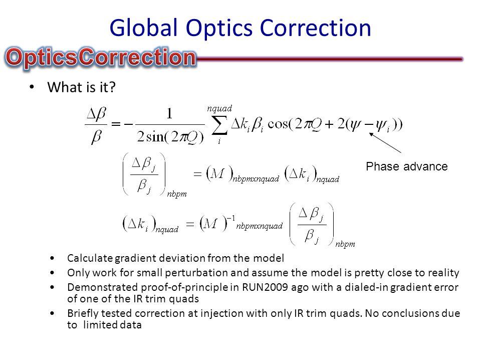 Global Optics Correction What is it.