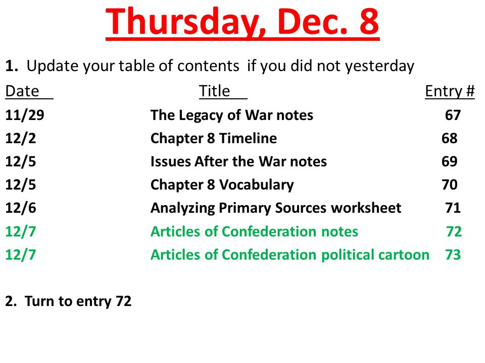 Thursday, Dec. 8 1. Update your table of contents if you did not yesterday DateTitle Entry # 11/29The Legacy of War notes 67 12/2Chapter 8 Timeline68